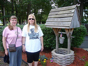 Picture of Annabel and Marilyn at the wishing well