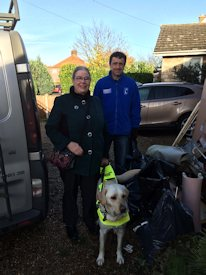 Picture of Annabel and Michelle with Guide Dogs Instructor,  Andrew Gower