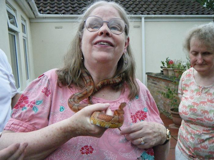 Picture of Annabel holding a corn snake