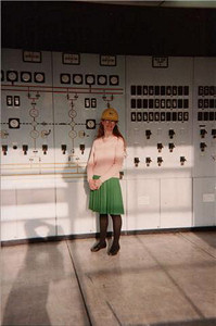 Picture of Annabel at the control panel of a nuclear reactor